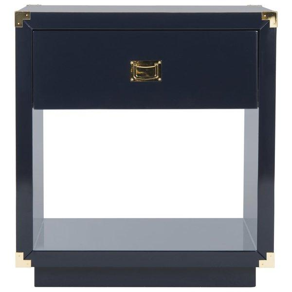 Jove 1 Drawer Navy Gold Accent End Table