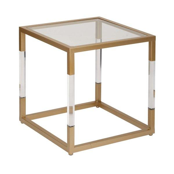 Cubed Metal Glass Acrylic End Table