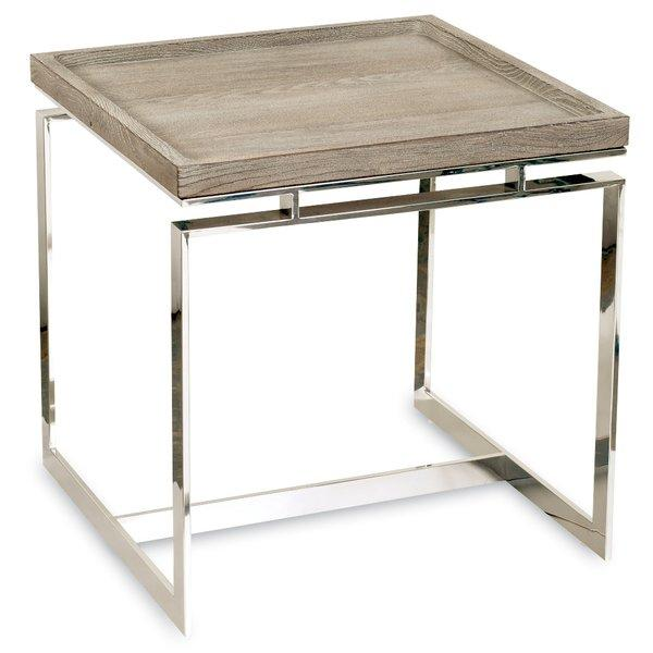 Tan Hardwood And Chrome Accent Table