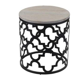 Isabelle Round Wood Quatrefoil Frame End Table