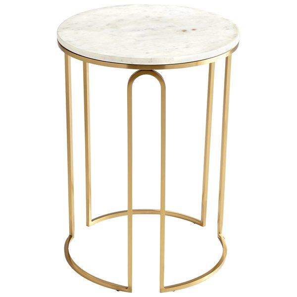 White Marble And Metal Round Accent Table: Antique Brass Pedestal Round End Table
