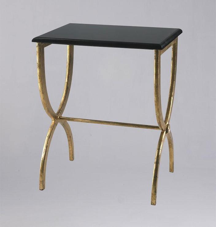 Hourglass Antique Gold Black Granite Table