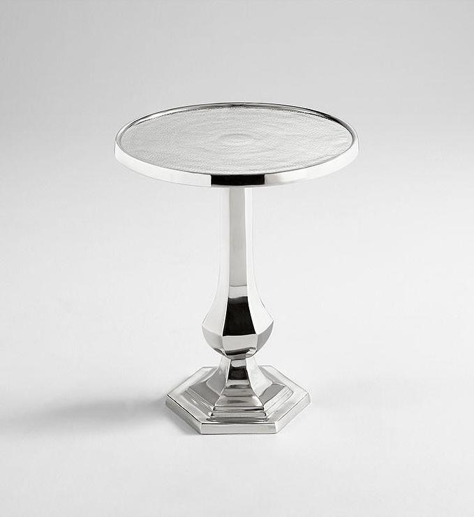 Old Sport Round Aluminum Nickel Side Table