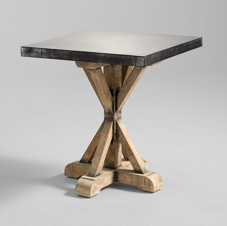Wallace Square Iron Reclaimed Wood Side Table