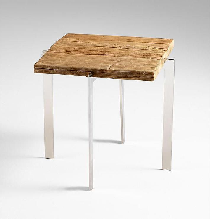 Durango Square Reclaimed Wood Steel Side Table