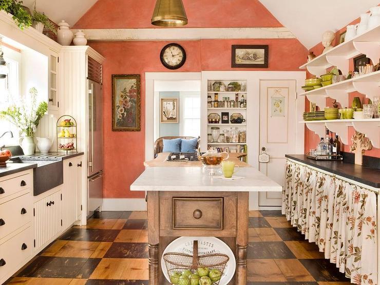 Orange White Checkered Wooden Country Kitchen