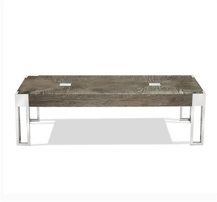 Lazarus Icy Gray Wood Nickel Cocktail Table