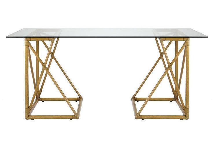 Riva Glass Top Nutmeg Brass Desk