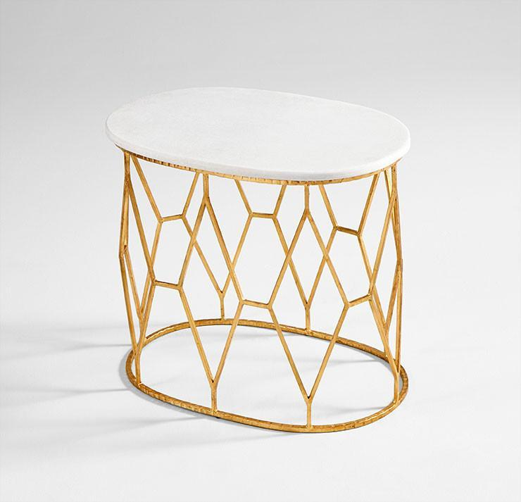 White Marble Arabesque Side Table: Stardust White Marble Silver Side Table