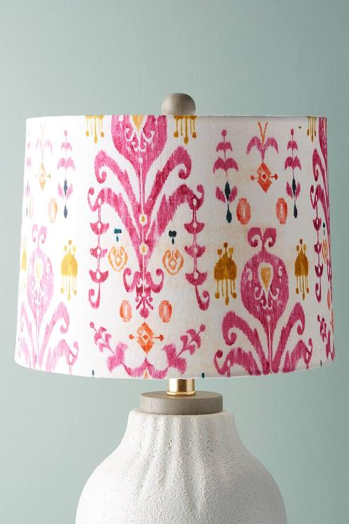 Purcella Raspberry Ikat Lamp Shade, Pink And White Lamp Shades