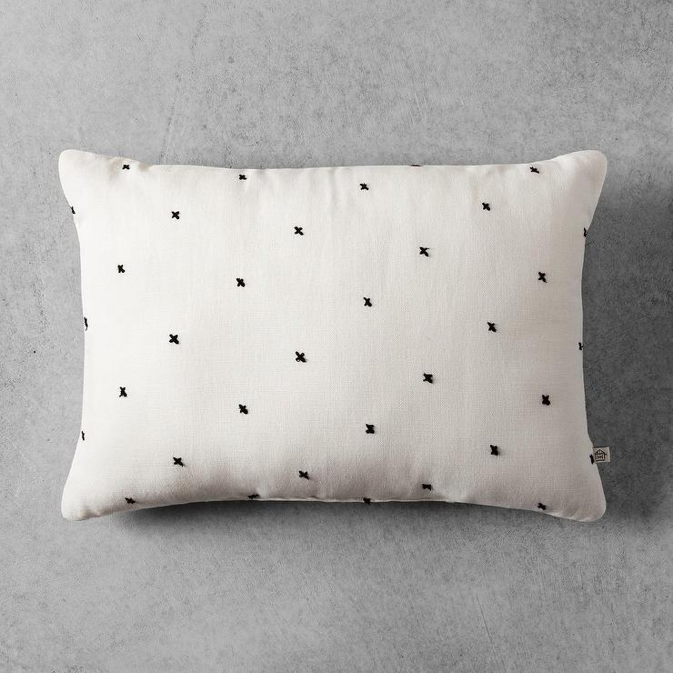 Lovely Hearth and Hand Cream Embroidered X Pattern Throw Pillow PZ61
