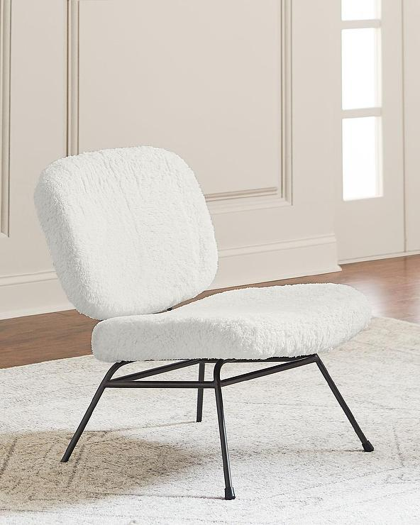 Astor White Faux Fur Accent Chair