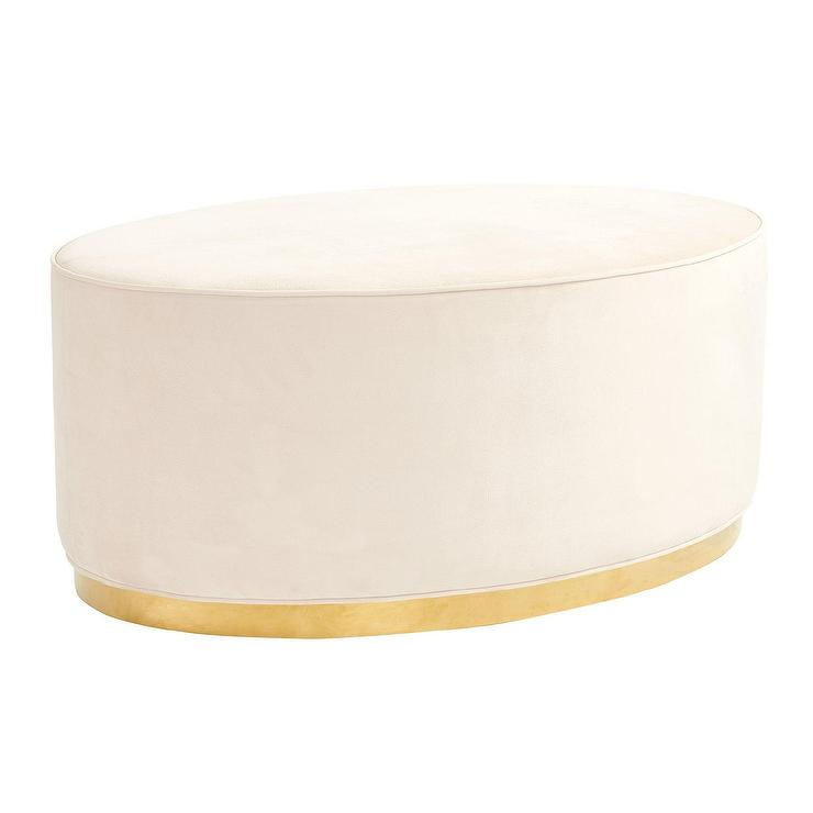 White Velvet Tufted Rectangular Ottoman