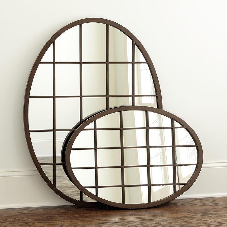 Evans Oval Bronze Iron Frame Mirror