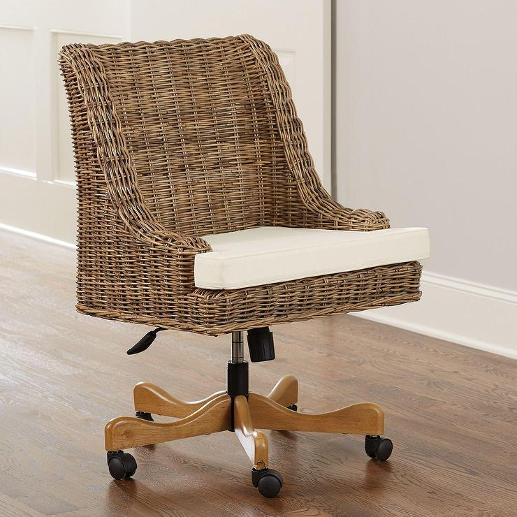 Superior Chastain Woven Rattan Rolling Desk Chair