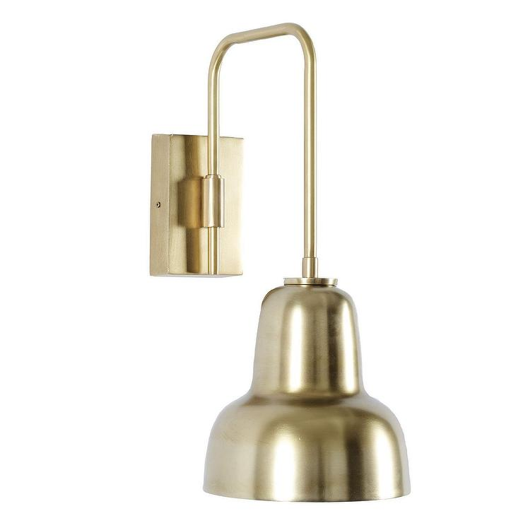 Welcoming White Kitchen Is Illuminated By Regina Andrew: Antique Brass Square Modern Sconce