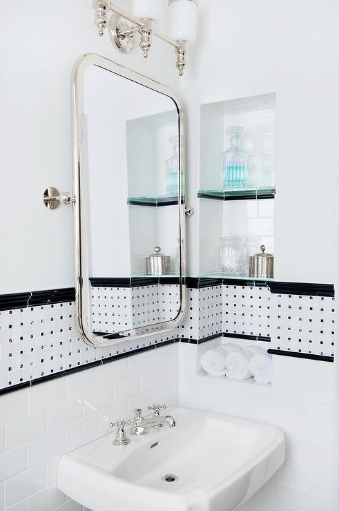 Glass Shelves In Niche Next To Pedestal Sink