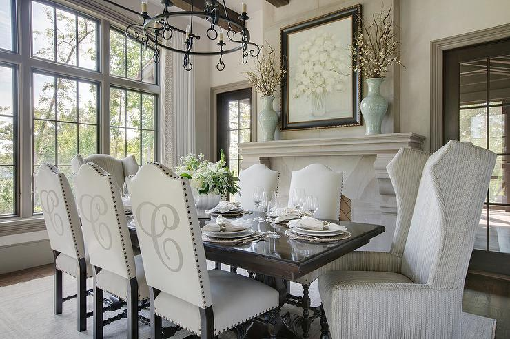 Light Gray Camelback Dining Chairs With Monogramming