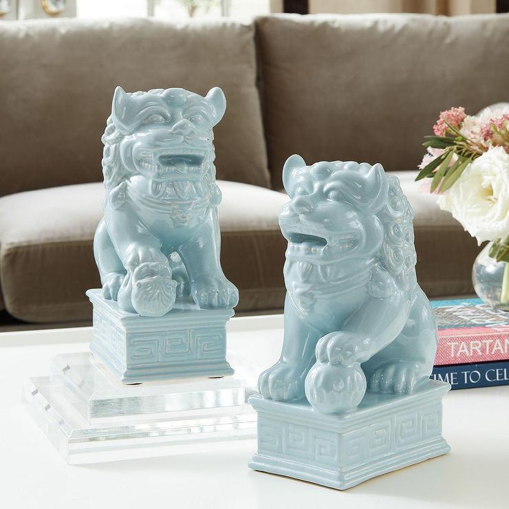 Foo Dogs Blue Glazed Ceramic Table Decor