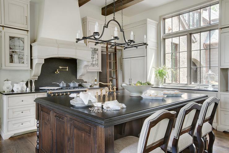 Limestone Kitchen Hood With Black Granite Slab Backsplash French