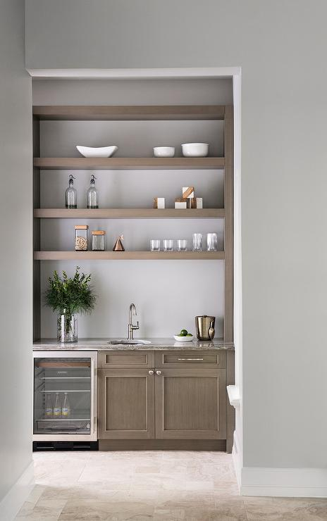Gray Wash Wood Floating Shelves And Cabinets