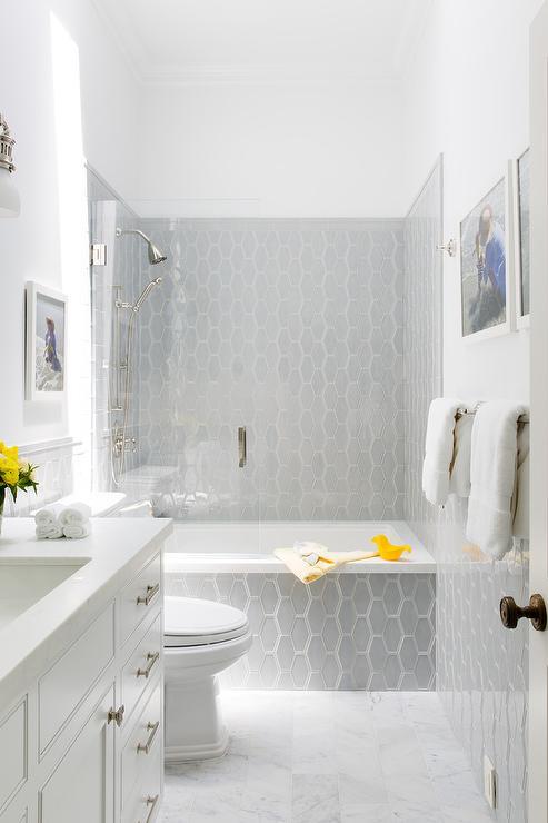 Gray Glass Honeycomb Tiles On Bathtub Transitional Bathroom