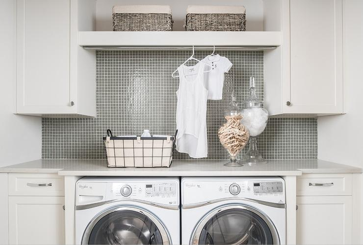 Surprising Gray Grid Laundry Room Backsplash With White Cabinets Interior Design Ideas Gentotryabchikinfo