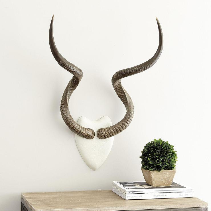Kudu White Brown Antlers Wall Mount