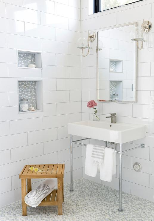 White and Gray Mosaic Niche Tiles - Transitional - Bathroom