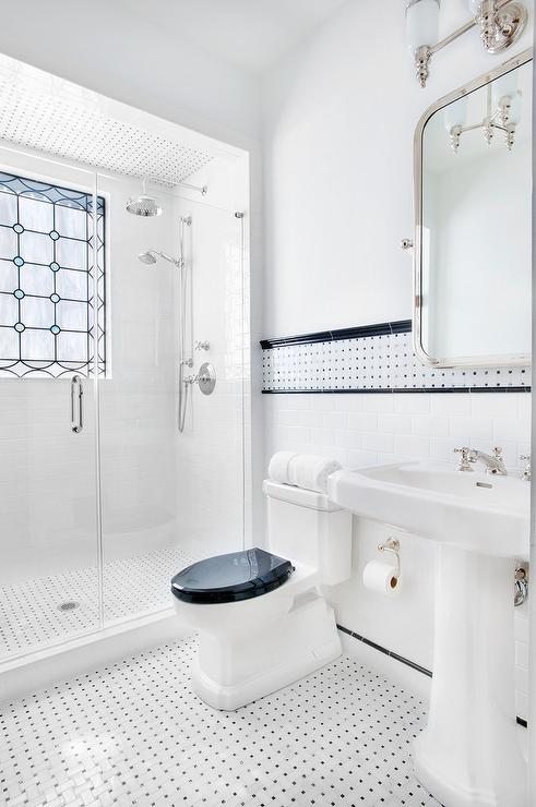 Black And White Border Wall Tiles Transitional Bathroom