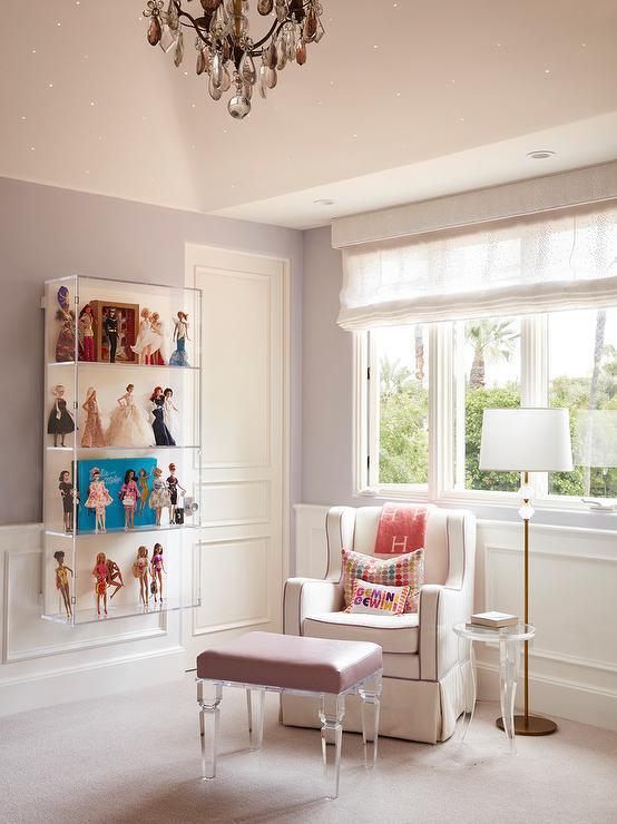 Pink Hermes Throw On Nursery Chair Transitional Nursery