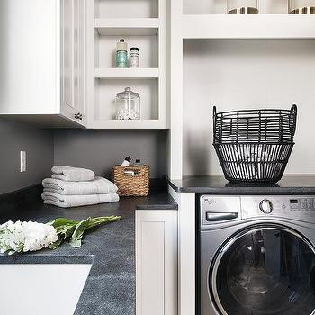 Black Leathered Granite Laundry Room Counter