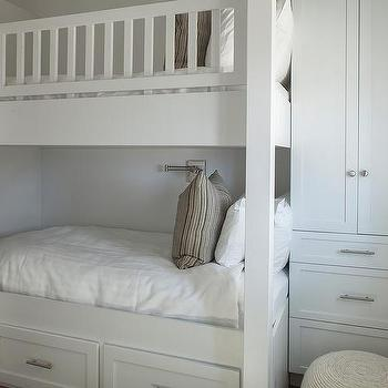 Tall Built In Cabinets Next to Bunk Bed & Built In Bed Storage Drawers Design Ideas