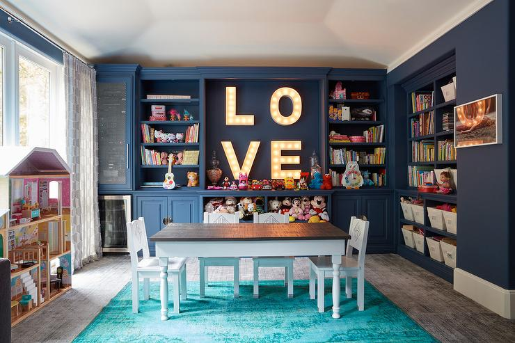 Well-known Blue Playroom with Teal Overdyed Rug - Contemporary - Girl's Room YD16