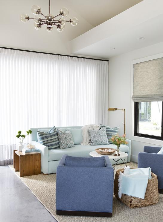 Powder Blue Sofa With Denim Blue Chairs Transitional Living Room