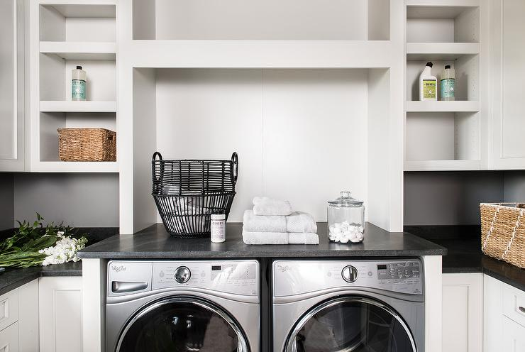 Laundry Room Black Leathered Granite Countertop With White