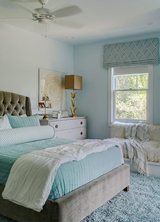 Gray And Aqua Blue Bedroom Colors Transitional Girl S Room