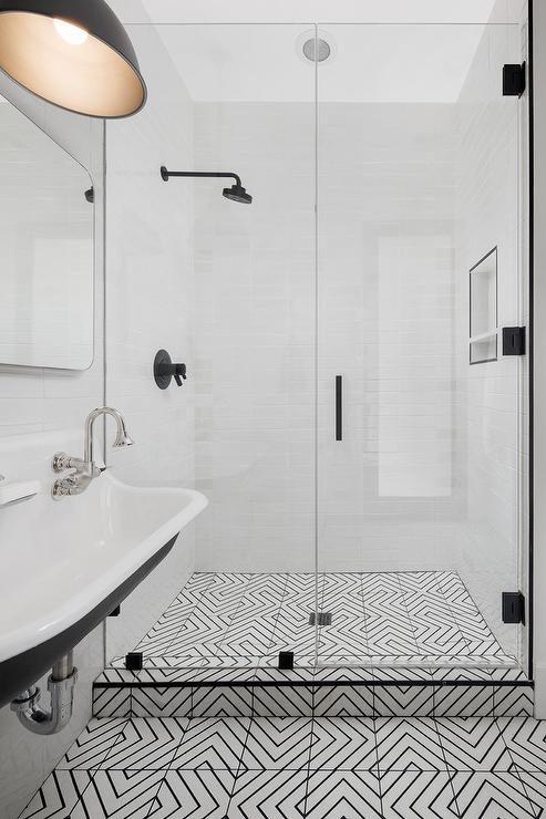 Black And White Geometric Bathroom Backsplash Tiles Design