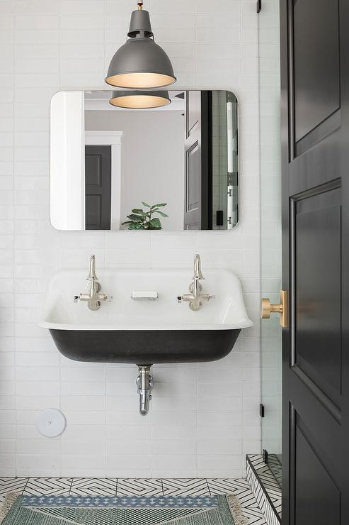 Charcoal Gray Industrial Pendant With Black Industrial Sink Transitional Bathroom