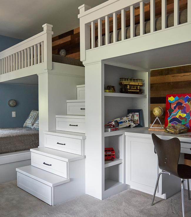 Loft Bed Staircase with Drawers - Transitional - Boy\'s Room