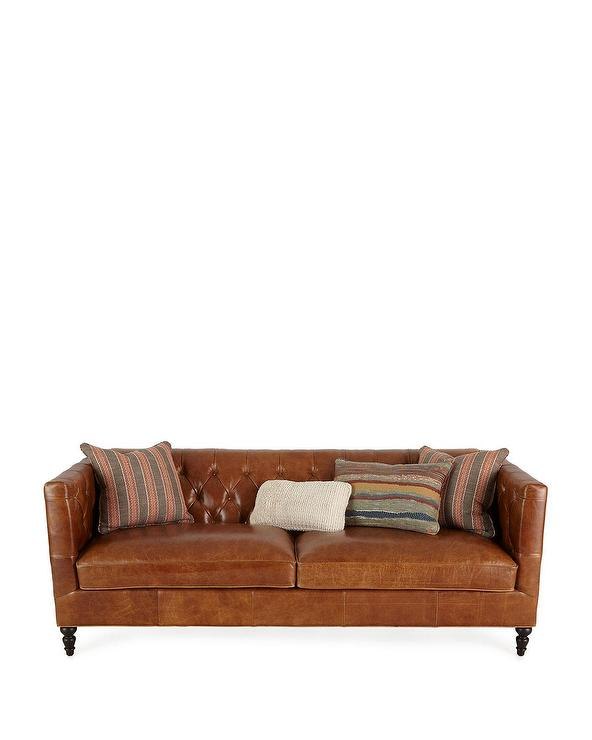 Pleasing Kyrie Brown Leather Tufted Sofa Evergreenethics Interior Chair Design Evergreenethicsorg
