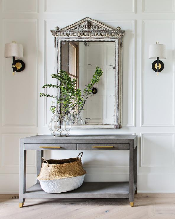 Farmhouse Foyer Table With Leather Mirror Transitional