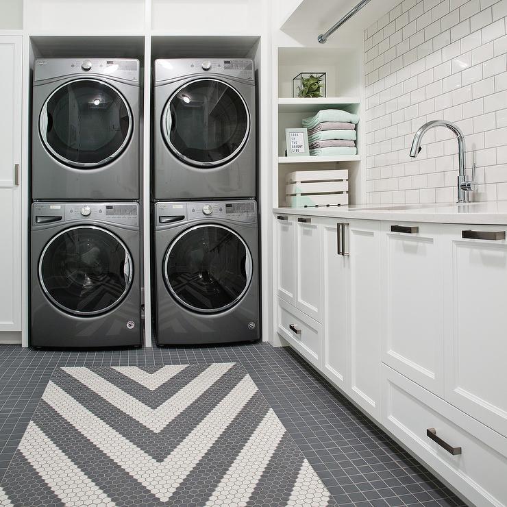 Gray Laundry Room Design Contemporary Laundry Room