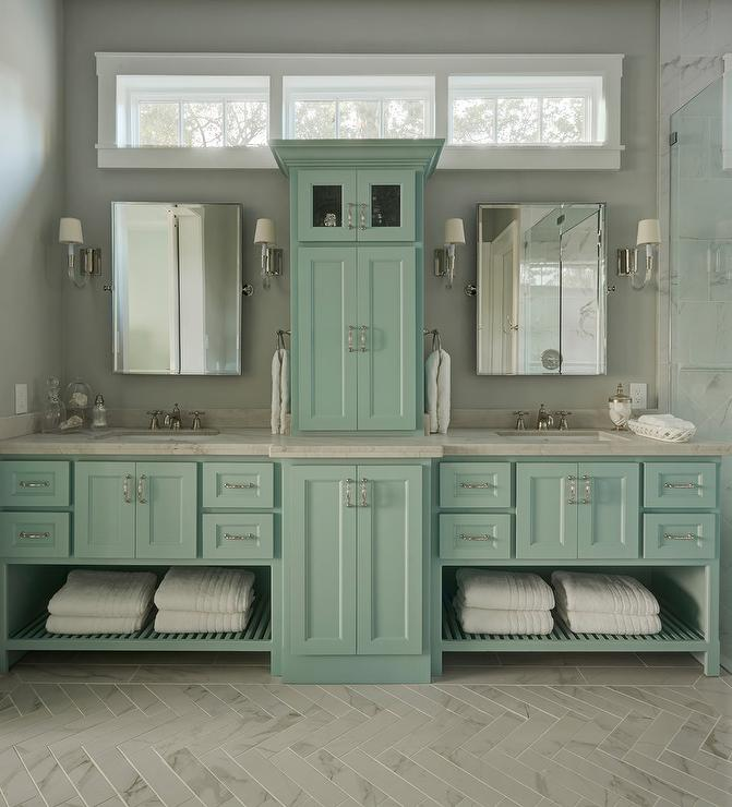 Light Blue Washstands With Towel Racks Transitional Bathroom