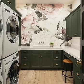 'Pink and Black Rose Wallpaper with Black Laundry Cabinets' from the web at 'https://cdn.decorpad.com/photos/2017/10/18/m_black-shaker-laundry-room-cabinets-with-pink-and-black-wallpaper.jpg'