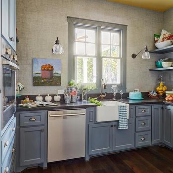 Gray Shaker Cottage Pantry Cabinets With Satin Nickel Cup Pulls