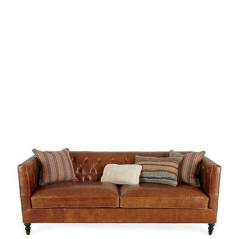 Kyrie Brown Leather Tufted Sofa