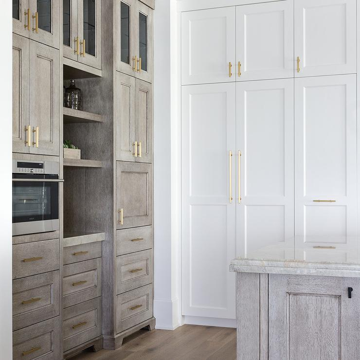 Floor To Ceiling Kitchen Cabinets: Gray Oak Cabinets With White Shaker Cabinets