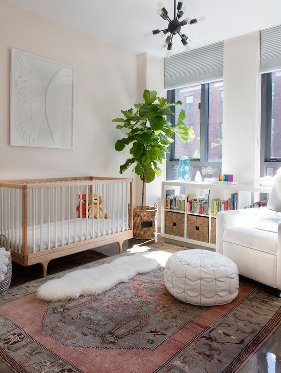 White Crib Brown Dresser Nursery