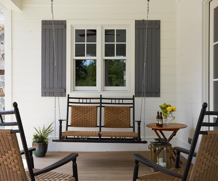 Incredible Black Swinging Porch Sofa With Wicker Seats Cottage Porch Bralicious Painted Fabric Chair Ideas Braliciousco